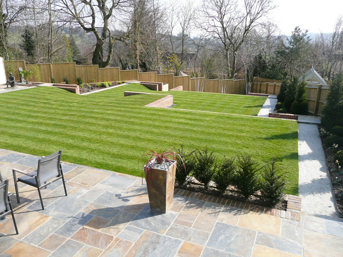Contemporary family garden berkhamsted specialist for Garden designs uk