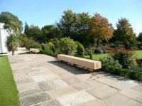 Paved Terrace & View Across Large Country Garden in Penn, Bucks