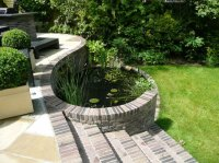 New Curved Pond & Steps - Recreational Garden - Chigwell
